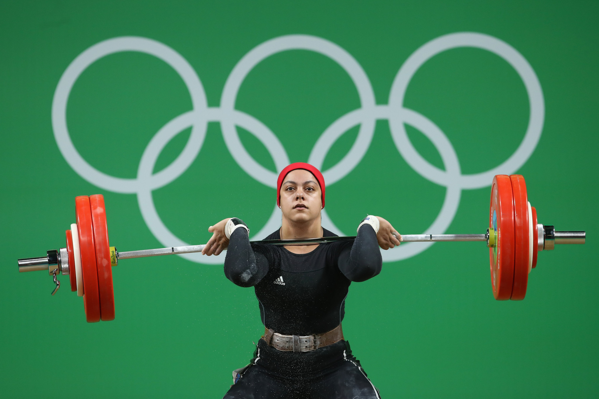 Egypt's Sara Ahmed is the first woman from an Arab country to win an Olympic weightlifting medal ©Getty Images
