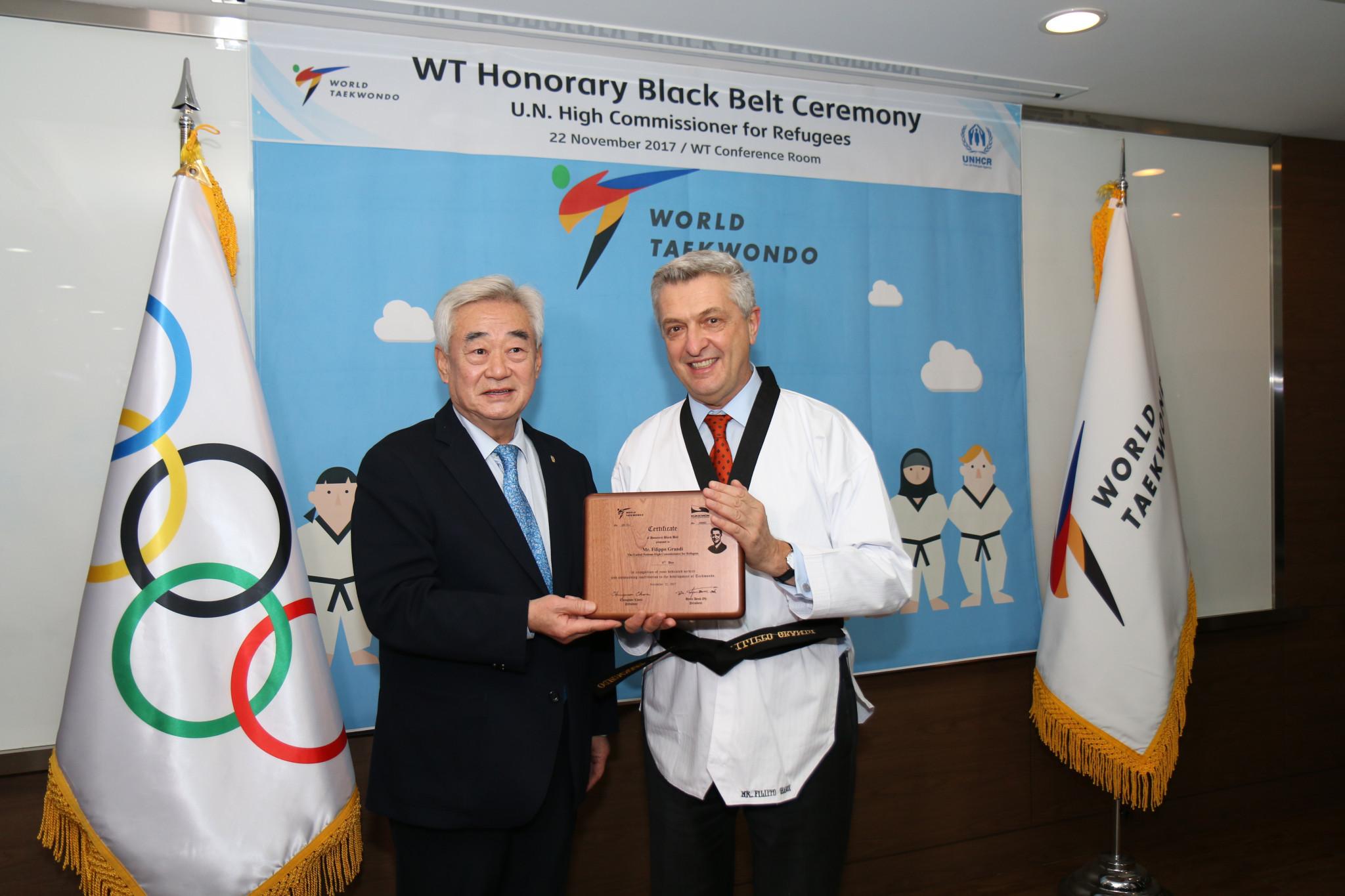 Choue awards taekwondo black belt to UNHCR High Commissioner for Refugees