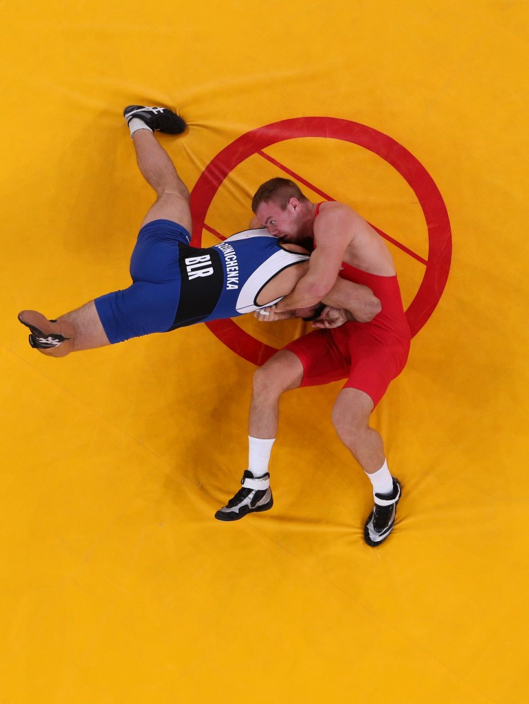 In Greco-Roman wrestling competitors are only allowed to use their upper bodies to achieve holds