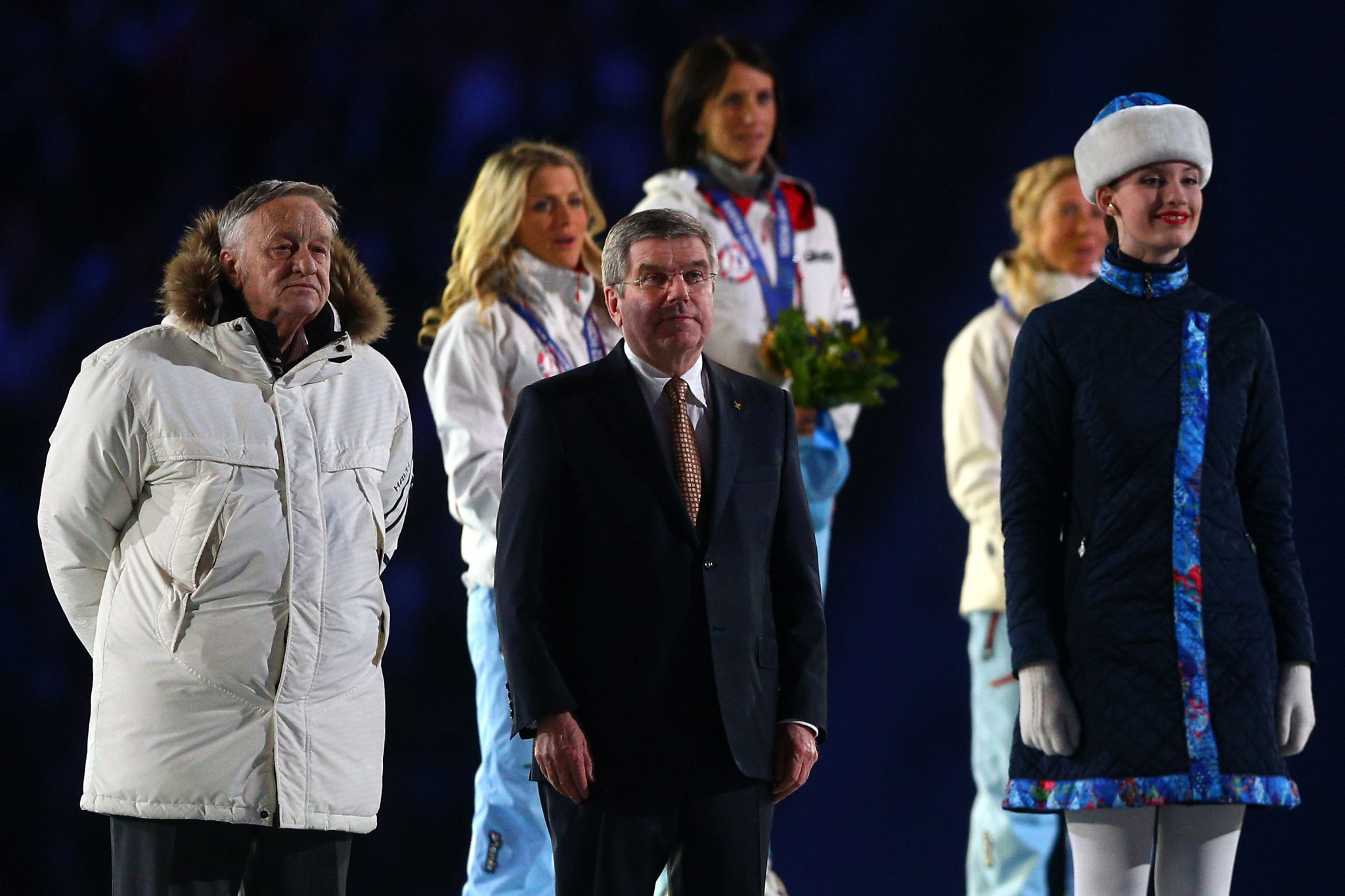 Differences of opinion have emerged between the FIS, led by Gian-Franco Kasper, left, and the IOC, led by Thomas Bach, centre ©Getty Images