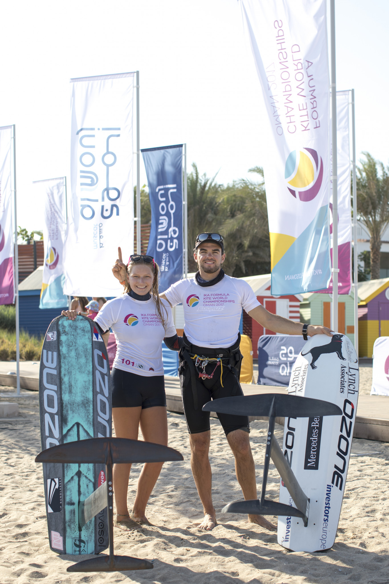 Nico Parlier and Daniela Moroz were crowned champions of the IKA Formula Kite World Championships after dominant displays throughout the week ©IKA Formula Kite World Championships