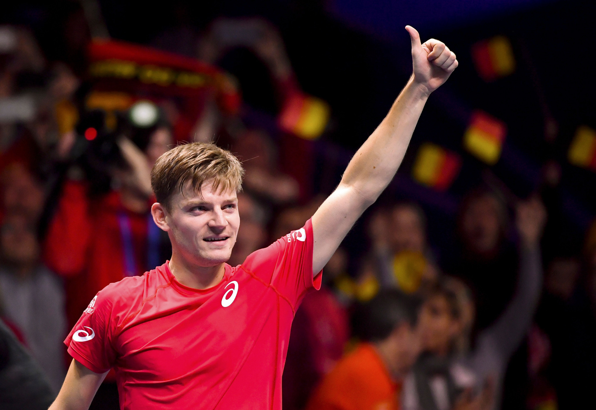 David Goffin won the opening match for Belgium in straight sets ©Getty Images