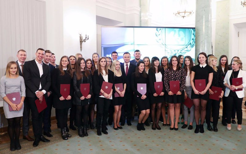 Polish Universiade medallists received by the President