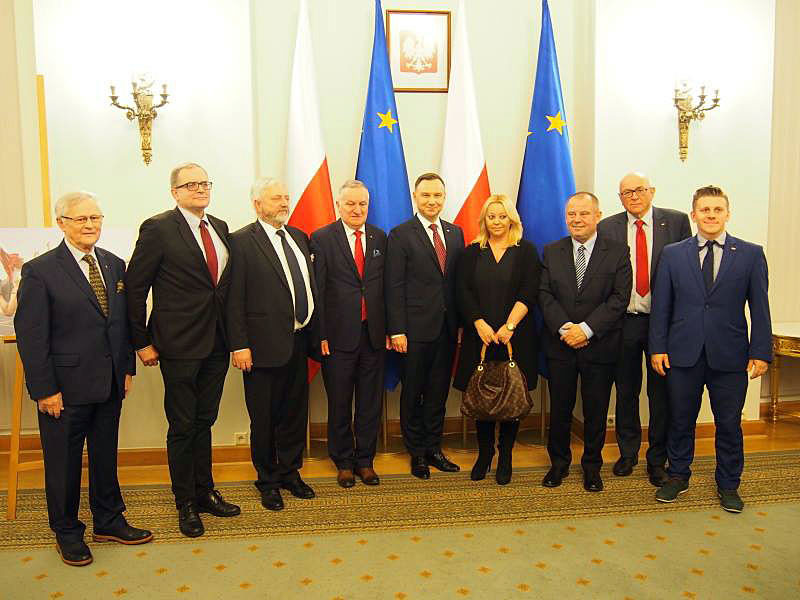 Several Polish sports officials joined President Duda at the ceremony in Warsaw ©AZS