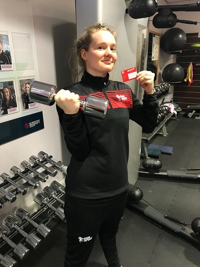 Emilie Fairnington, a DMU graduate sport development assistant with her UNIversal Gym card ©BUCS