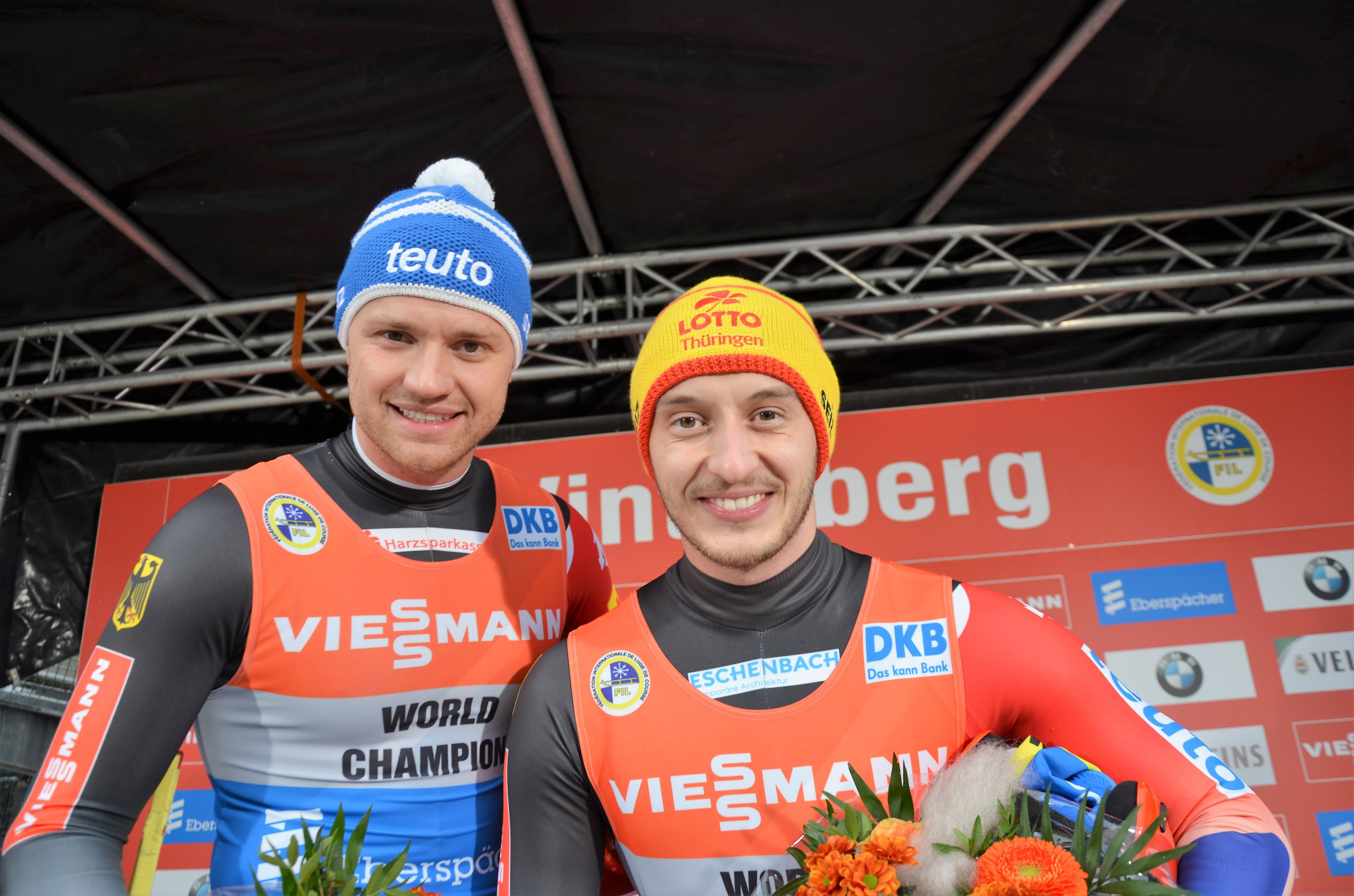 Toni Eggert and Sascha Benecken once again won the doubles event in Winterberg ©FIL