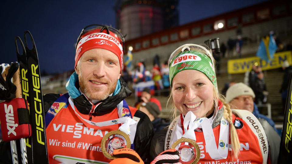 Lisa Theresa Hauser, right, and Simon Eder won the season-opening event ©IBU