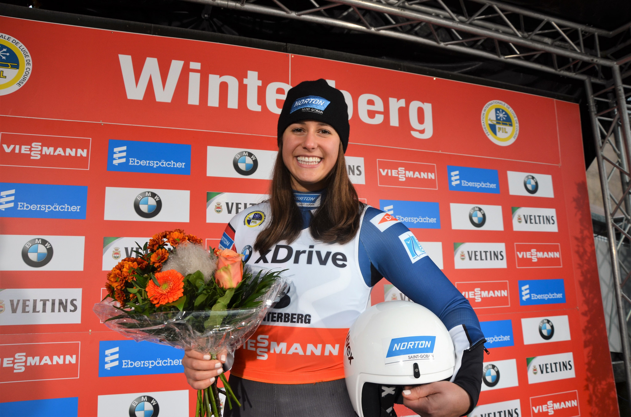 America's Emily Sweeney won the women's sprint event in Winterberg ©FIL