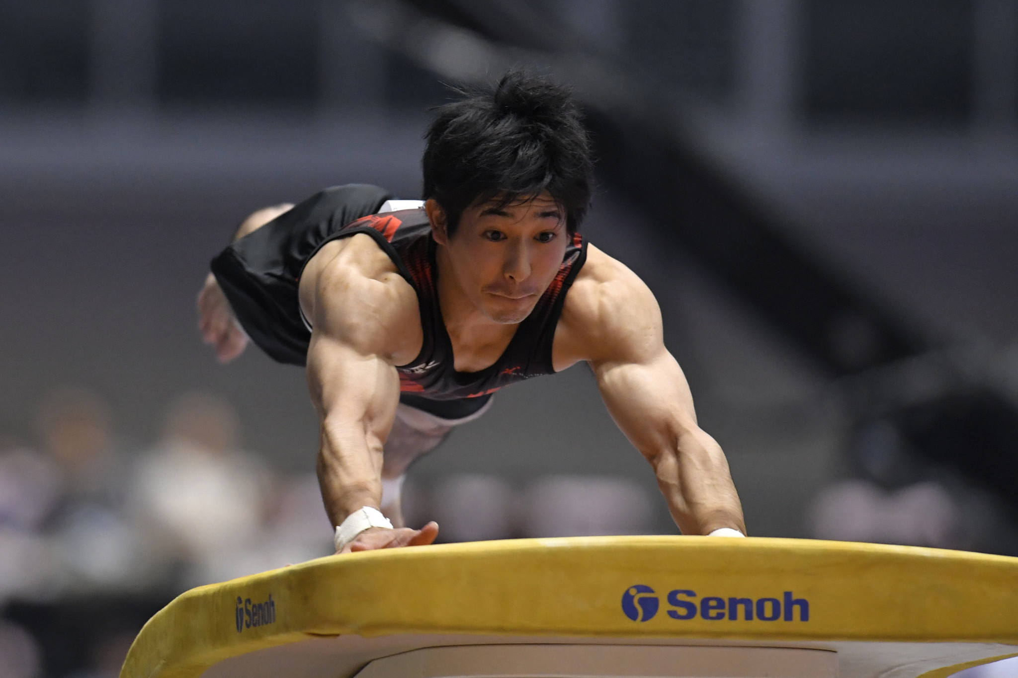 Japan's Keisuke Asato won the men's vault event at the opening FIG Individual Apparatus World Cup in Cottbus ©Getty Images