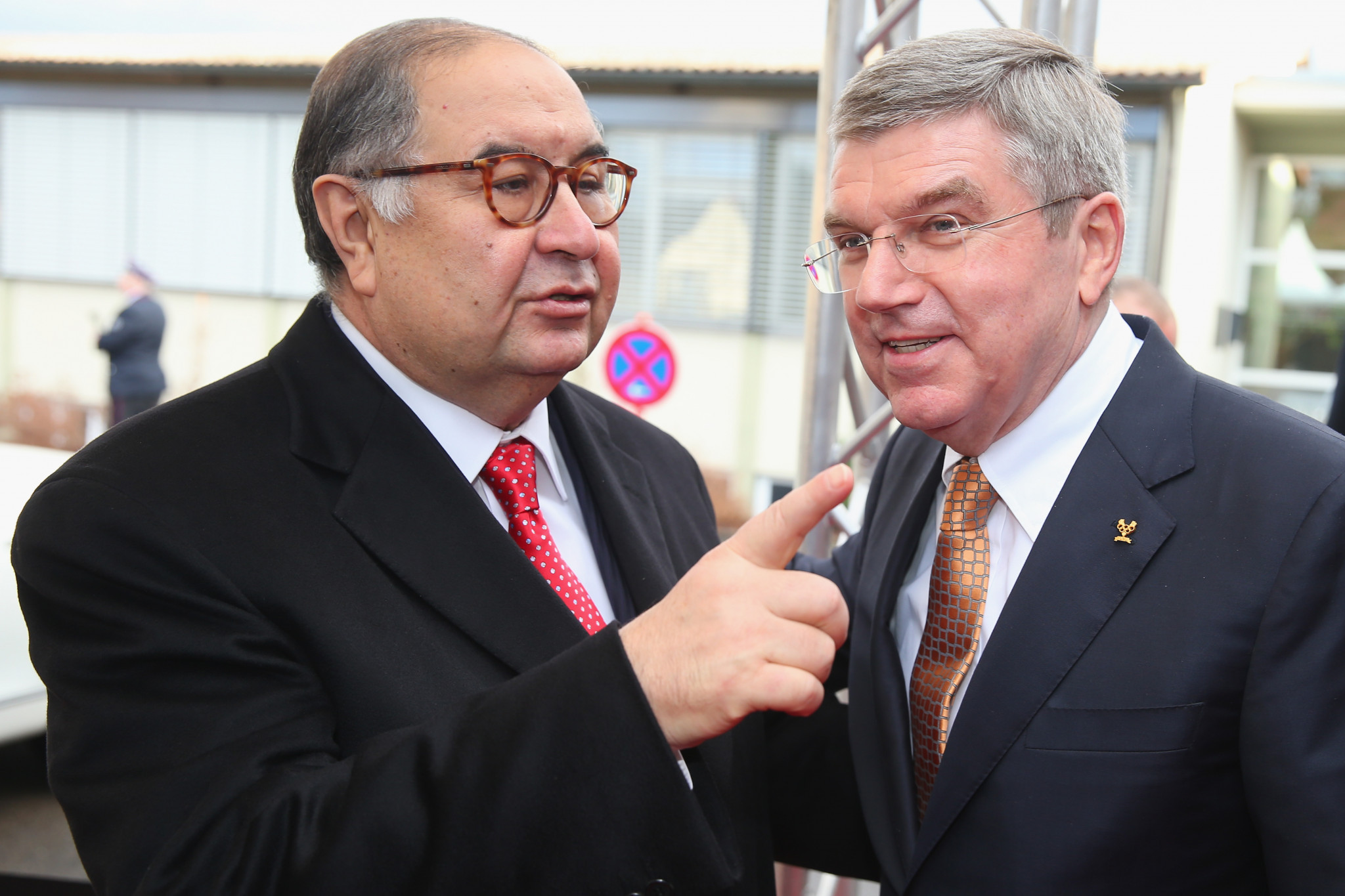 Alisher Usmanov, left, President of the International Fencing Federation, seen chatting to IOC President Thomas Bach at the latter's 60th Birthday party in Tauberbischofsheim, Germany back in January 2014 ©Getty Images