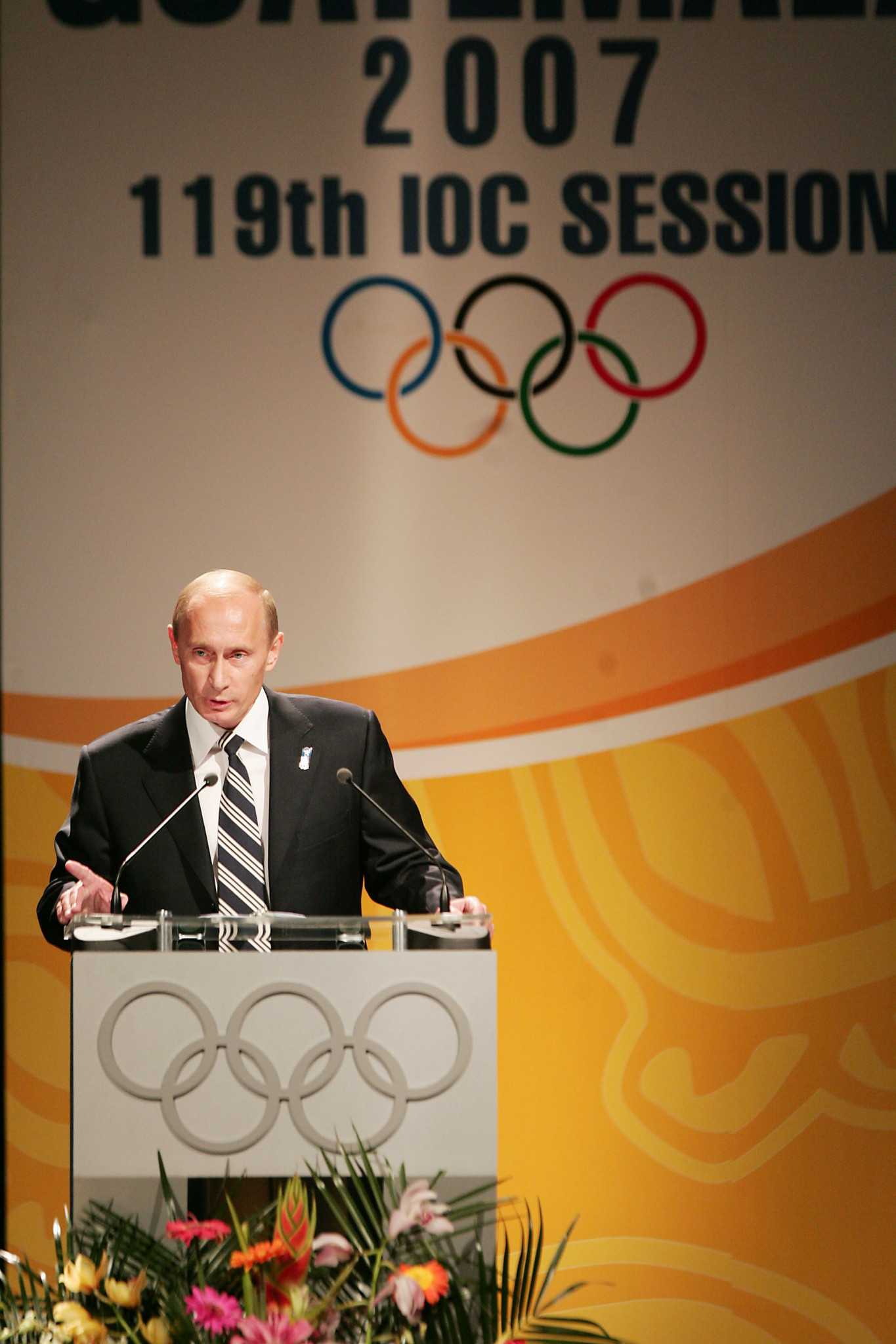 Vladimir Putin pictured speaking in favour of Sochi at the 2007 IOC Session in Guatemala ©Getty Images