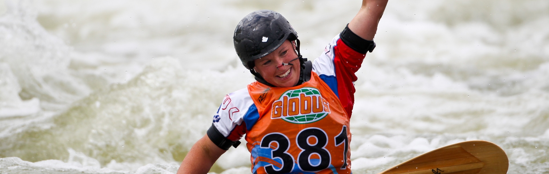 Great Britain's Claire O'Hara claimed her fifth global squirt title on the opening day of competition at the ICF Canoe Freestyle World Championships in San Juan in Argentina ©ICF
