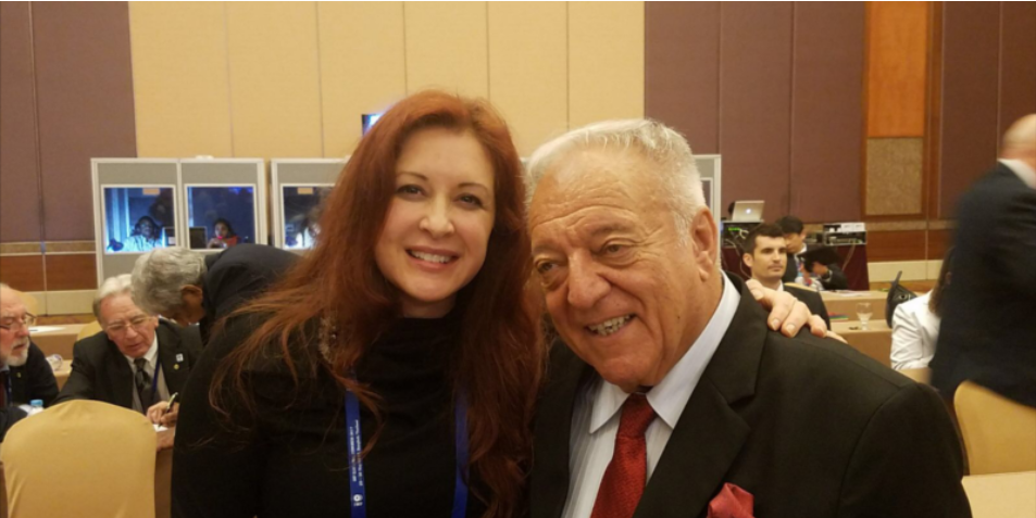 USA Weightlifting President Ursula Garza Papandrea, pictured with IWF counterpart Tamás Aján, defended her organisation after Albania's Daniel Godelli failed to get an American visa to compete at the World Championships ©USA Weightlifting