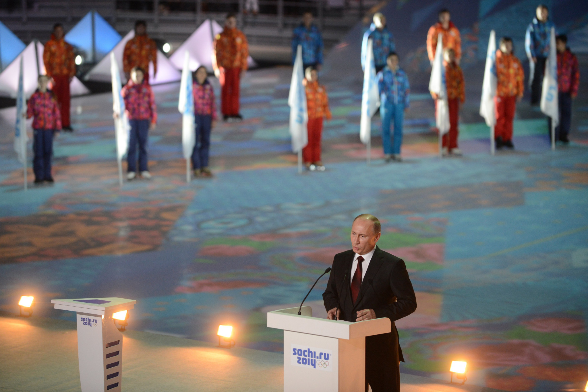 Russia's President Vladimir Putin speaks at a ceremony celebrating the one year countdown to the Sochi 2014 Winter Olympics opening at the Bolshoi Ice Dome rink in February 2013 ©Getty Images