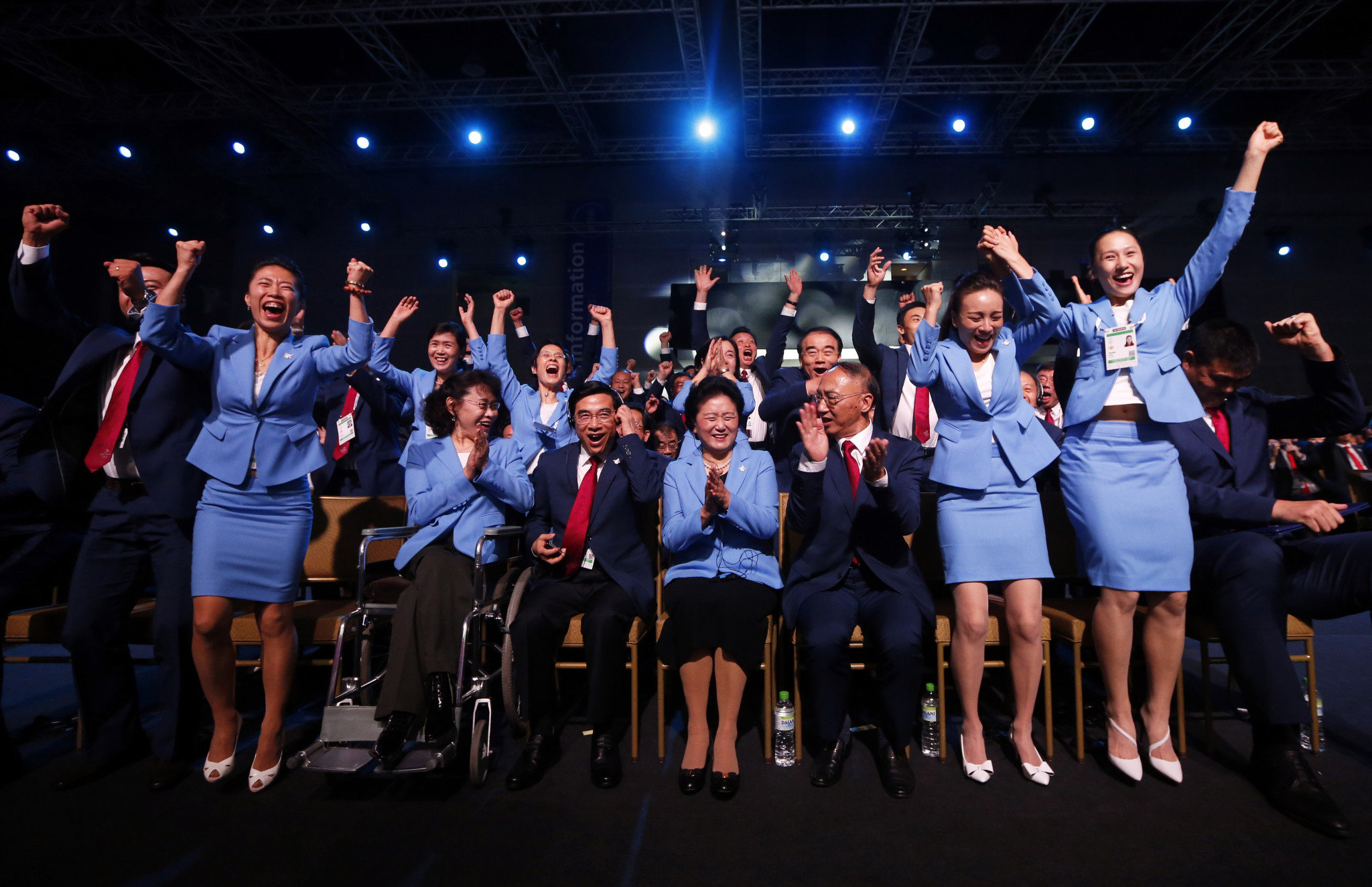 Vice-president of the Beijing 2022 Olympic Winter Games Bid Committee Zhang Haidi, Mayor of Beijing Wang Anshun, China's Vice Premier Liu Yandong, President of the Chinese Olympic Committee Liu Peng and members of the of the Beijing 2022 Olympic Winter Games Bid Committee celebrate after Beijing, was announced as the host city for the 2022 Winter Olympics... but this was a bidding process that only came to life late in the day © Getty Images