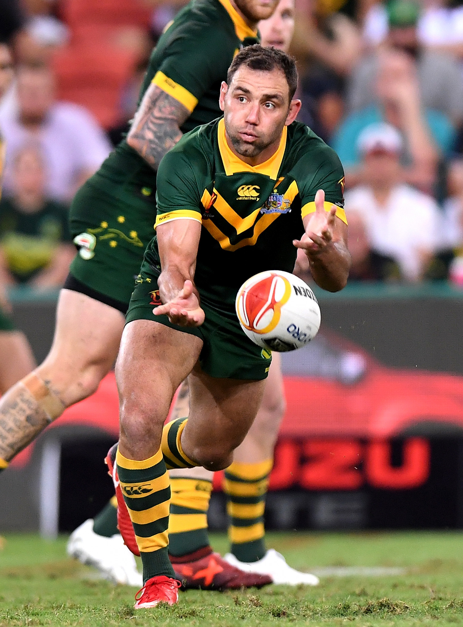 Cameron Smith, of Australia, seen here during the 2017 Rugby League World Cup Semi Final against Fiji, has won the Golden Boot Award