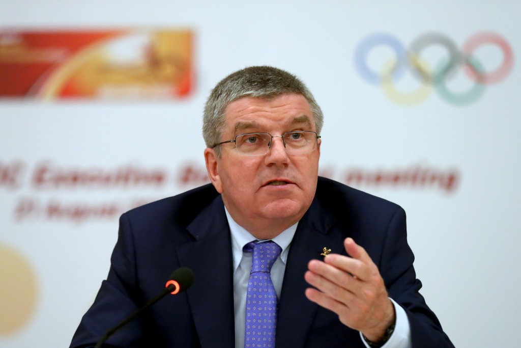 IOC President Thomas Bach speaking at the IAAF/IOC press conference in Beijing today ©Getty Images