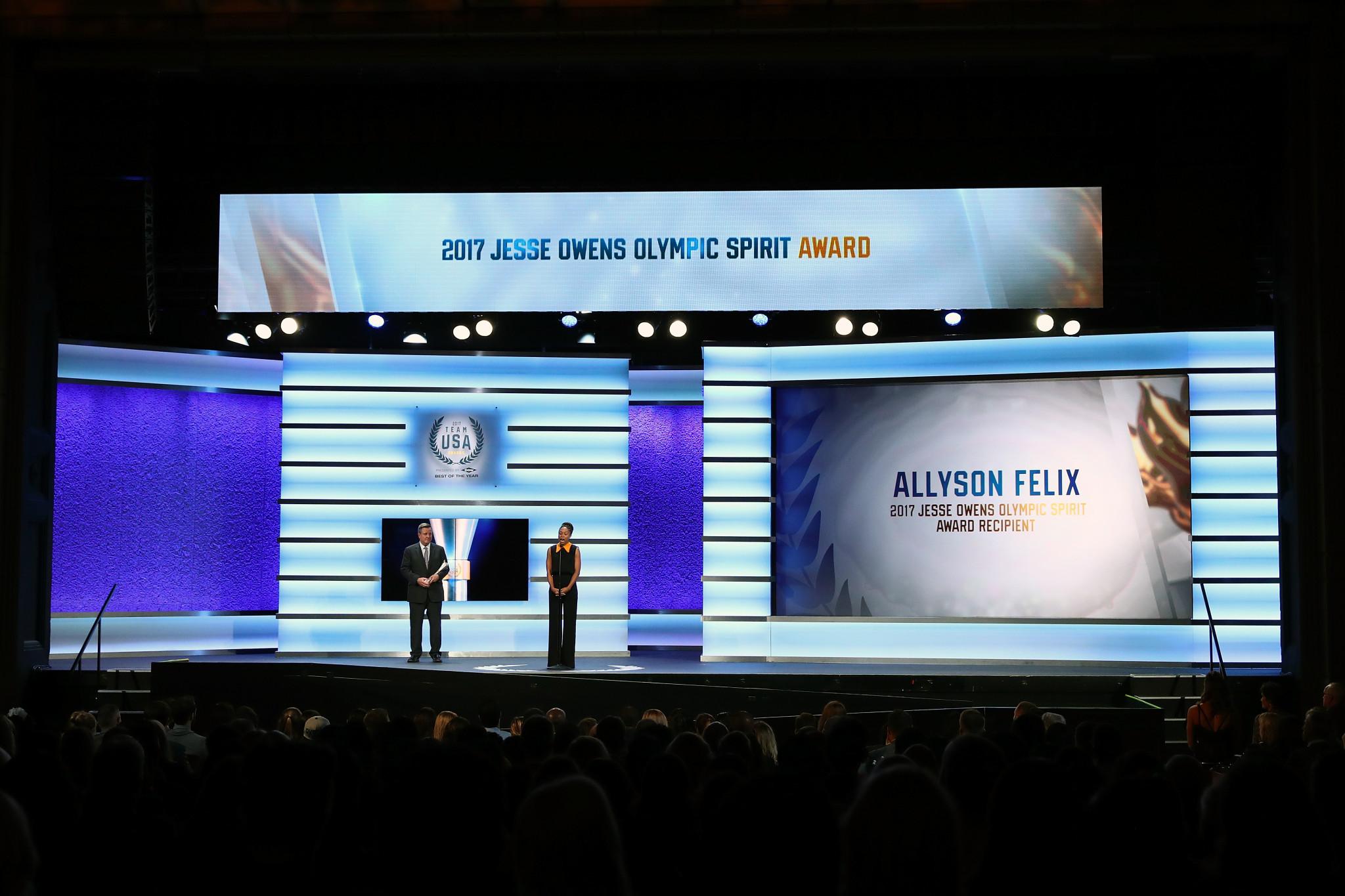 Allyson Felix won the Jesse Owens Olympic Spirit Award ©Getty Images