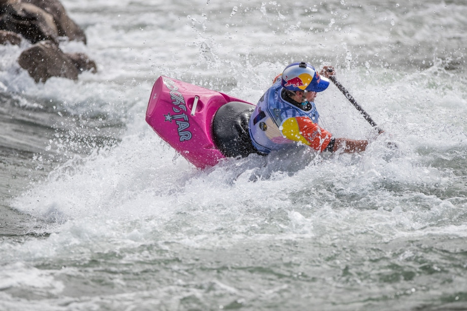 The United States' Dane Jackson posted the highest score in the preliminary round of the men's canoe event on day four of the ICF Canoe Freestyle Kayak Championships ©ICF