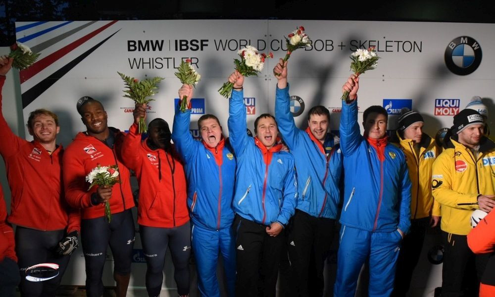 Alexander Kasjanov, Aleksei Pushkarev and Ilvir Khuzin were part of the four-man team which claimed victory in Whistler despite being under investigation for alleged doping ©IBSF