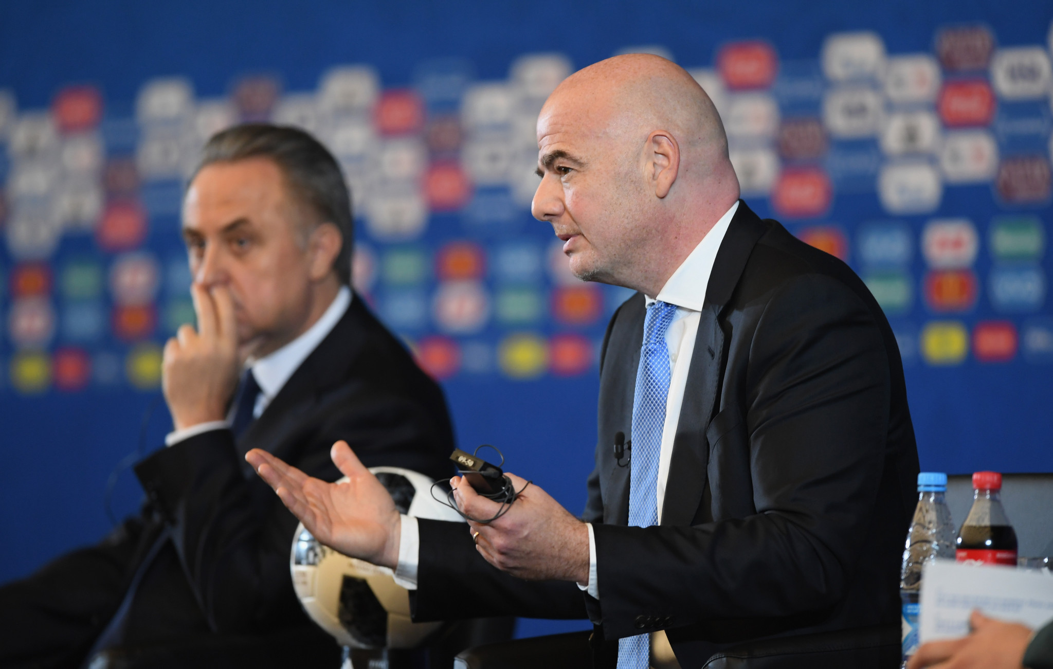 Russia's Deputy Prime Minister Vitaly Mutko was speaking alongside FIFA President Gianni Infantino at a press conference prior to the draw for today's 2018 FIFA World Cup ©Getty Images