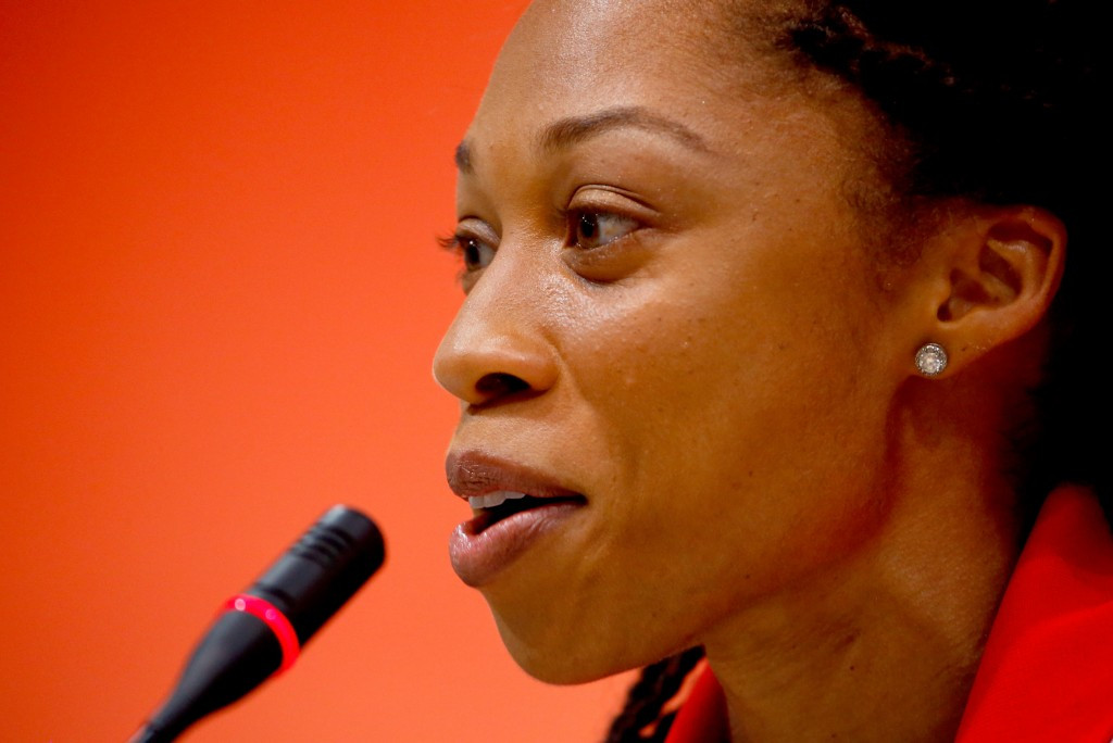 US athlete Allyson Felix, pictured in Beijing, may be able to double at 200/4000 in Rio Olympics ©Getty Images