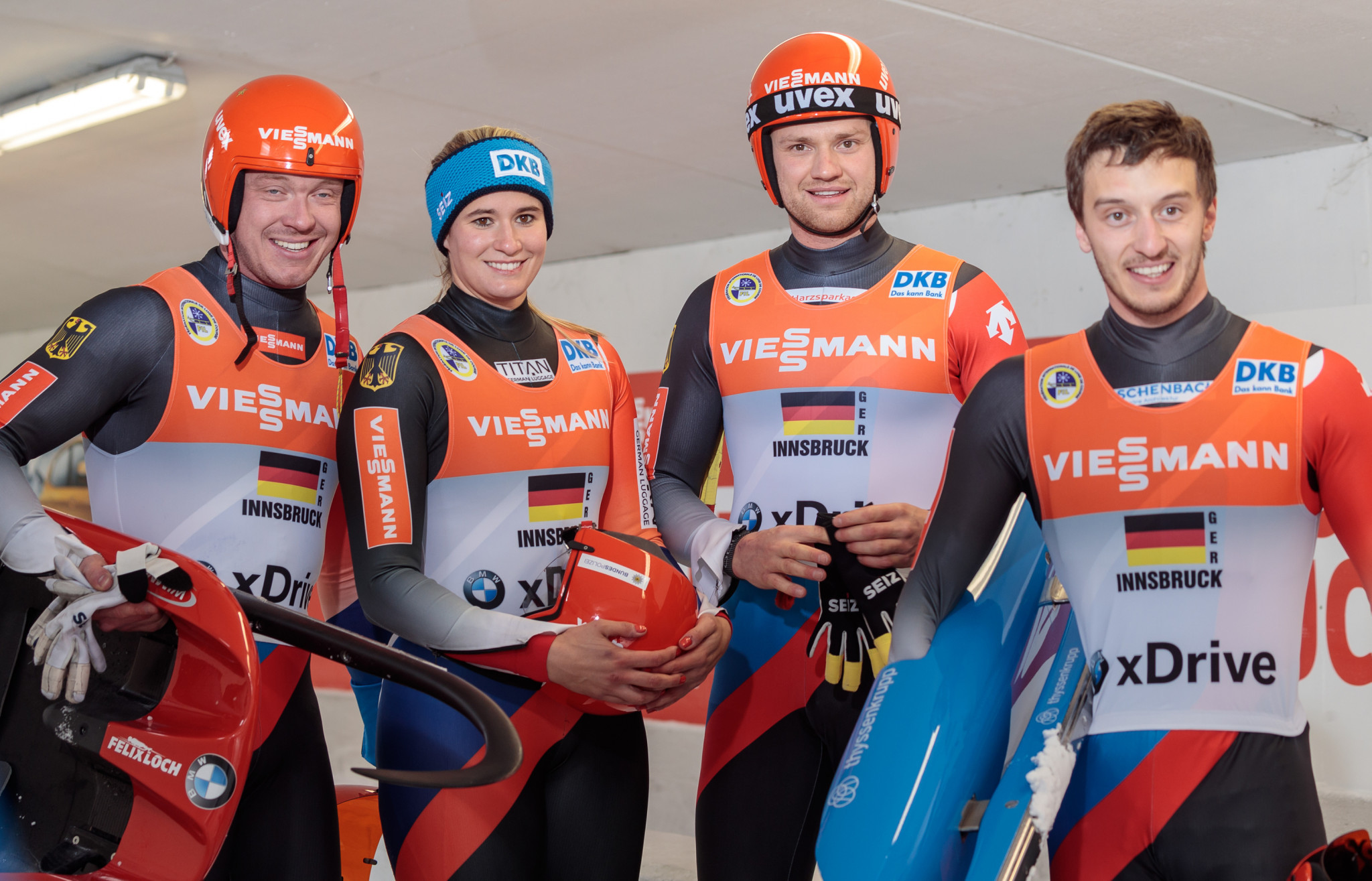 Germany will be hoping Felix Loch, Natalie Geisenberger, Toni Eggert and Sascha Benecken can bring them glory in the second Luge World Cup relay event of the year ©Getty Images