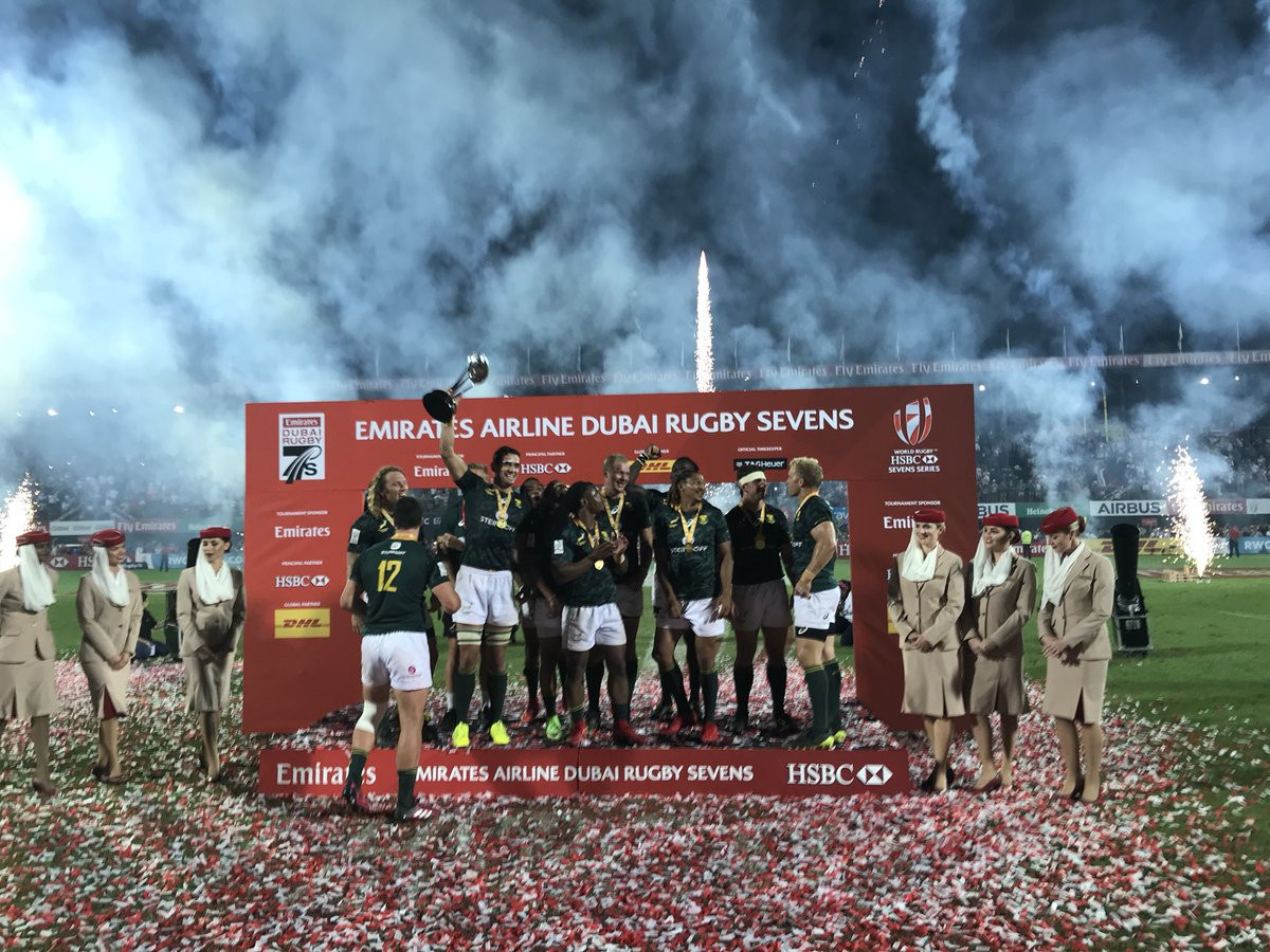 South Africa triumph in opening World Rugby Sevens Series event in Dubai