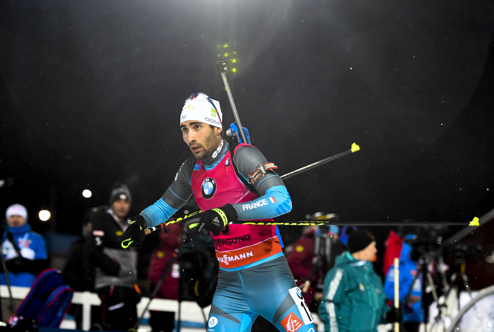 Frenchman Martin Fourcade fell narrowly short as he was 0.7 seconds behind the victorious Norwegian ©Getty Images
