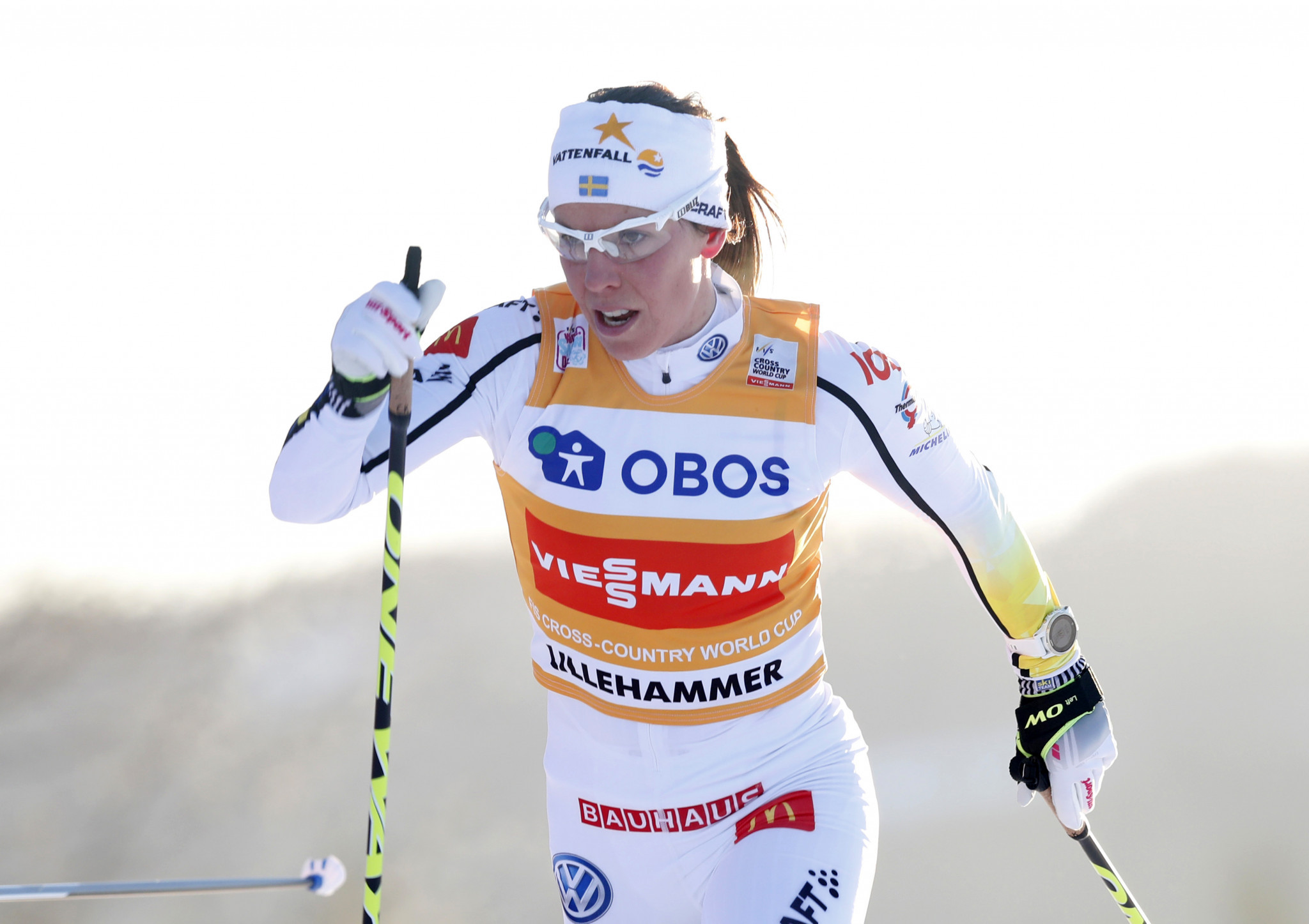 Sweden's Charlotte Kalla triumphed in the women's race as she claimed her maiden World Cup skiathlon success ©Getty Images