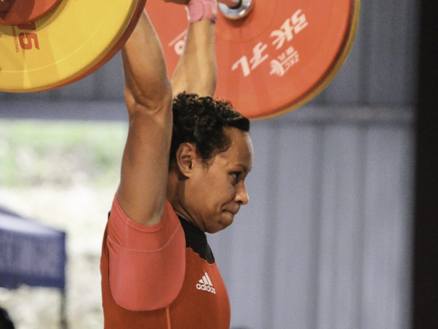 Commonwealth Games gold medallist Dika Toua of Papua New Guinea secured the women's under 53 kilograms weightlifting crown by lifting a total of 190kg ©Vanuatu 2017