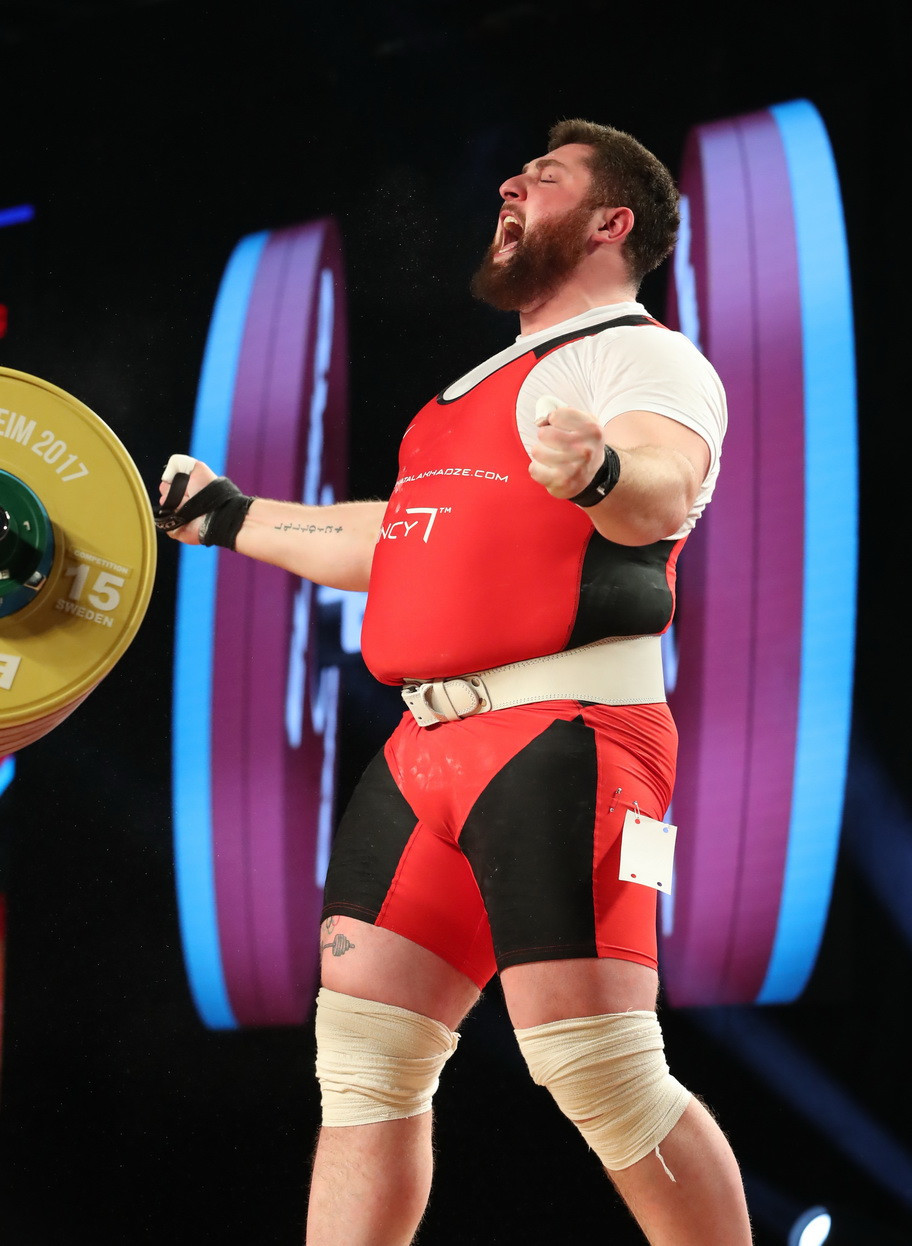 The 24-year-old Georgian won the snatch title with 220kg and the overall crown with 477kg ©IWF