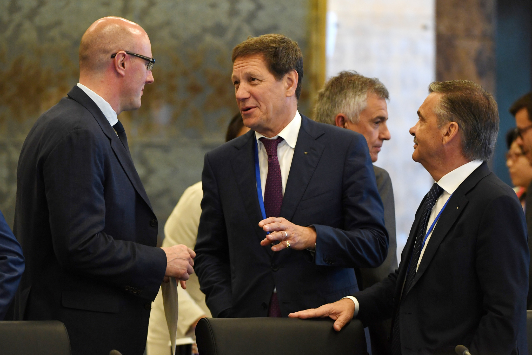 Ex-Sochi 2014 President and chief executive Dimitry Chernyshenko, left, has been sacked as a member of the Beijing 2022 Coordination Commission while Alexander Zhukov, centre, has been suspended as an IOC member ©Getty Images