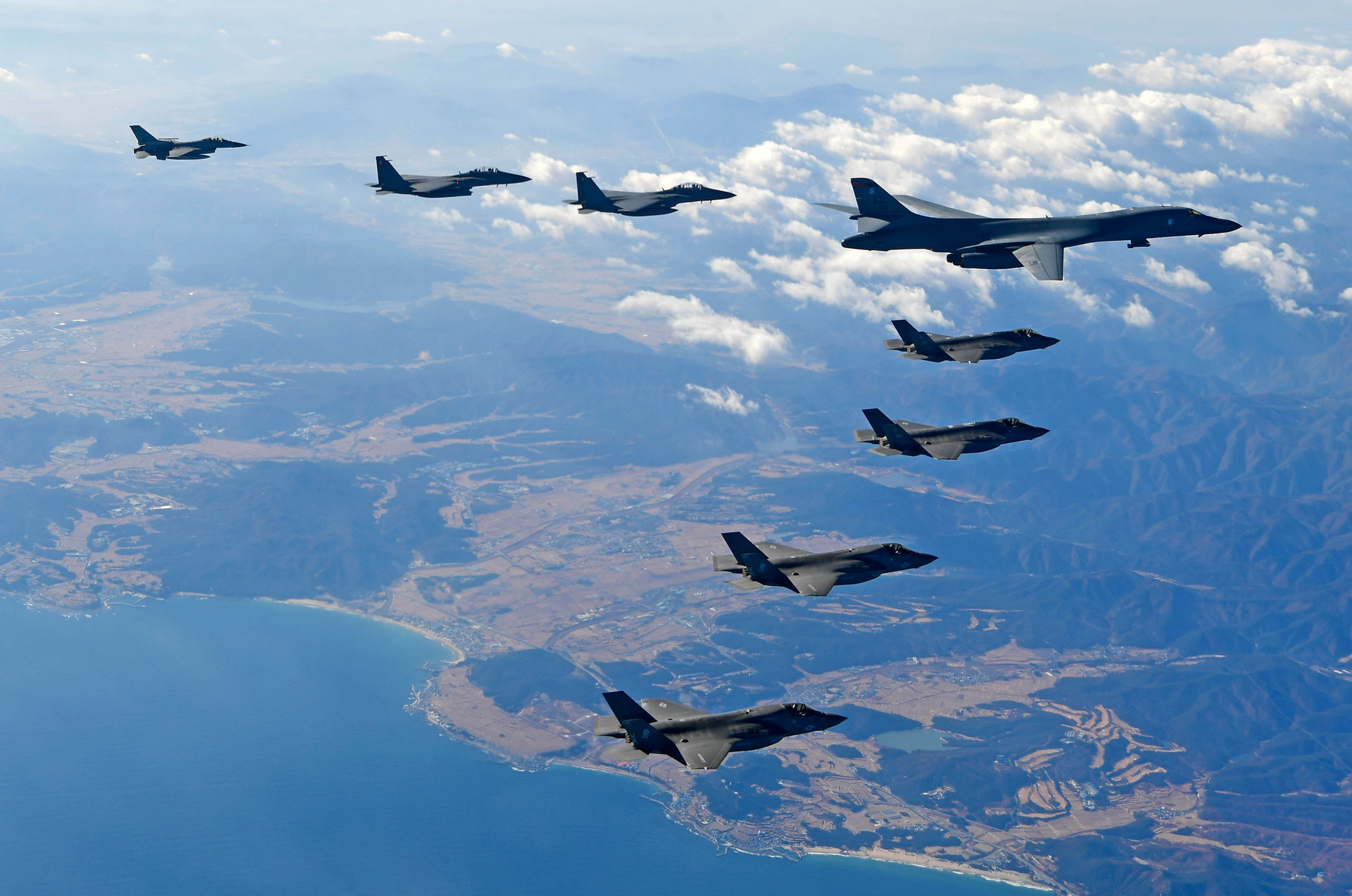 South Korean and US jets pictured flying over the Korean Peninsular this week ©Getty Images