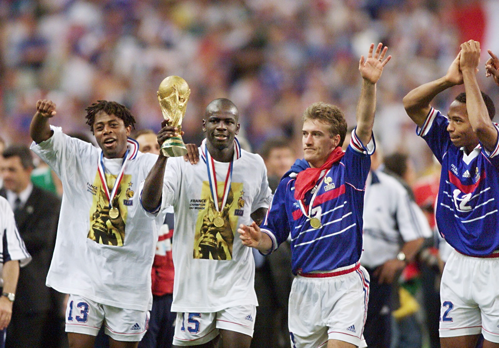 Lilian Thuram, second left, was a World Cup winner with France in 1998 ©Getty Images