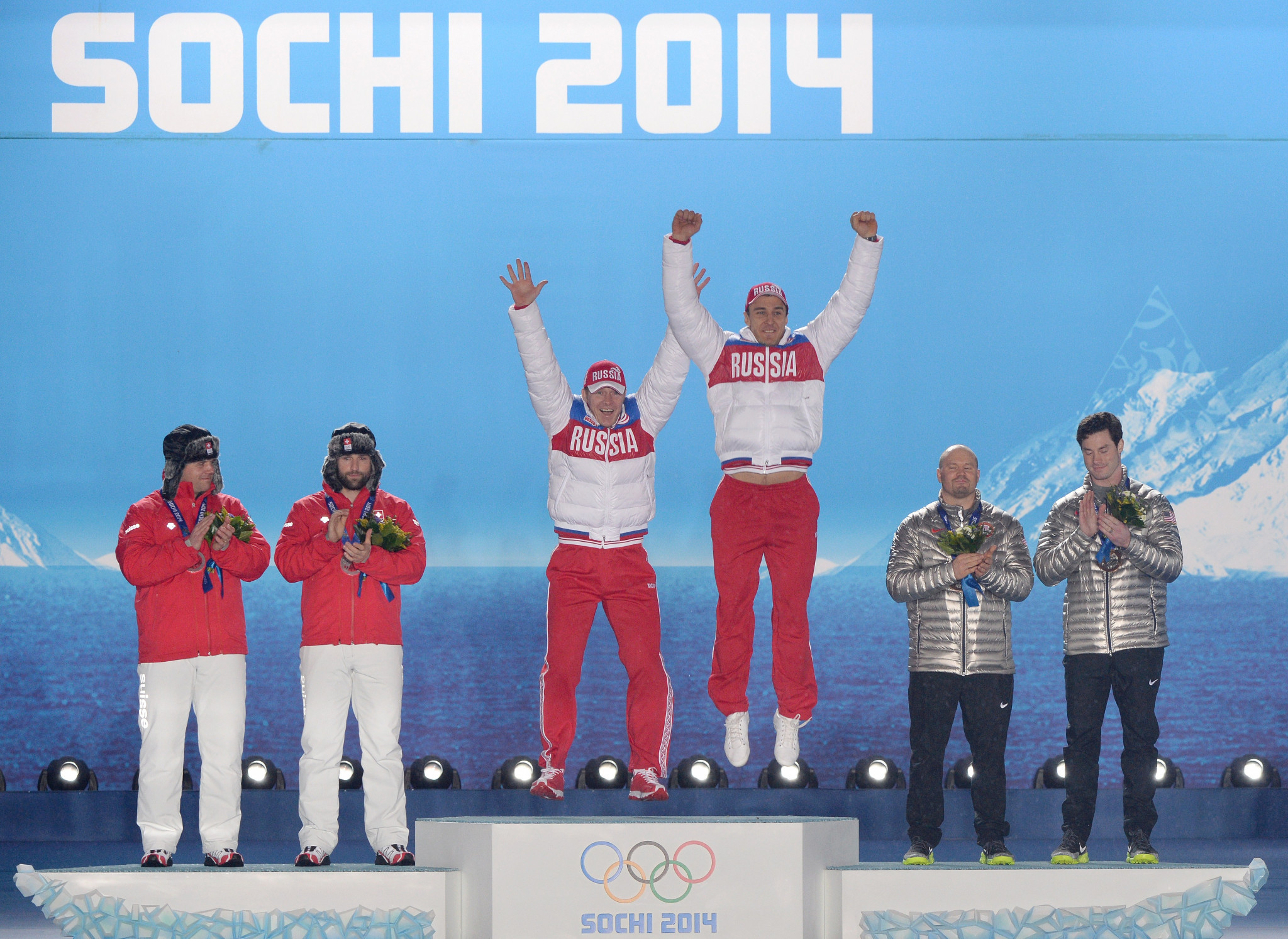 Alexander Zubkov celebrates the first of his two gold medals at Sochi 2014 ©Getty Images