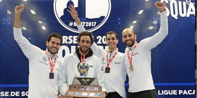 Favourites Egypt celebrate their vicgtory over  defending champions England in the final of the WSF Men's World Team Squash Championship at Salle Vallier in Marseille earlier this month ©Getty Images