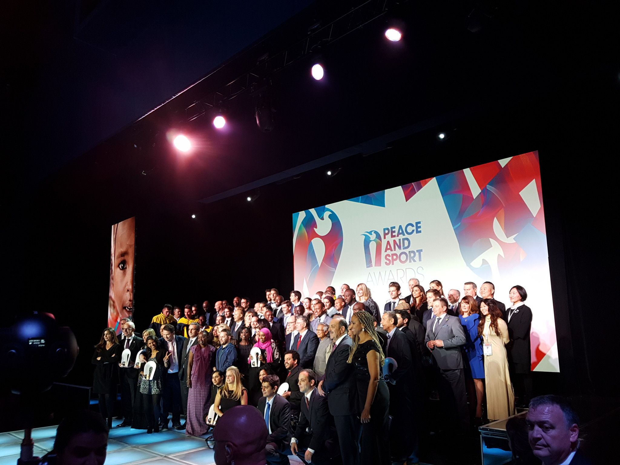 Peace and Sport's Champions for Peace and all award nominees celebrated on the stage at the end of the award ceremony ©ITG
