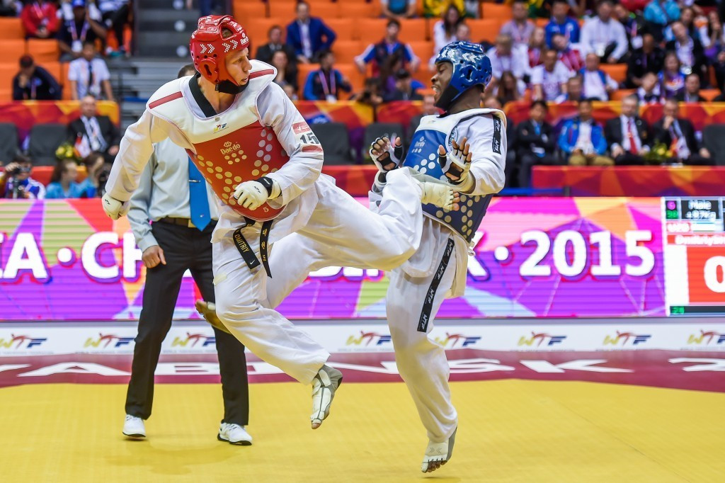 A new octagonal mat was used at this year's World Championships in Chelyabinsk, where Uzbekistan's Dmitry Shokin (left) was among the winners ©WTF