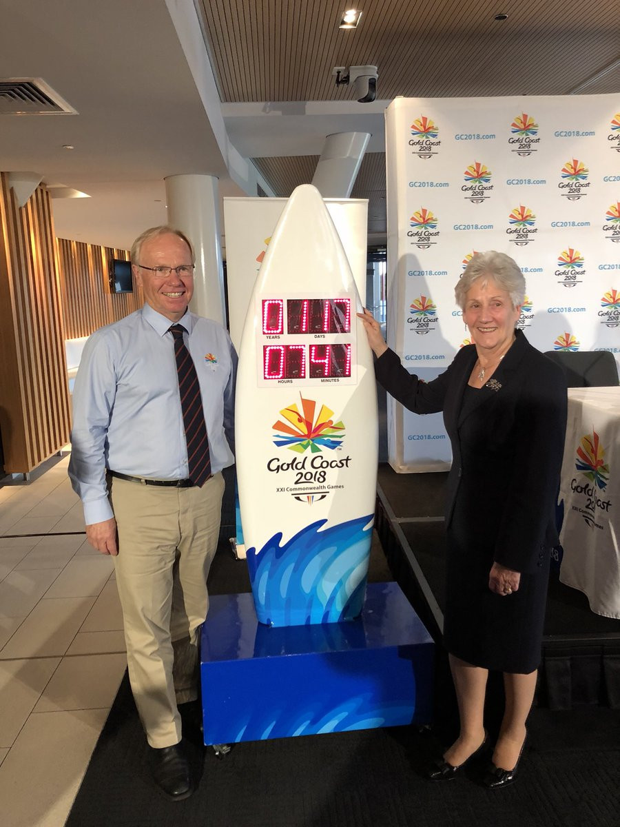 Commonwealth Games Federation President Louise Martin, right, and Gold Coast 2018 chairman Peter Beattie, left, have both urged the Australian media not to boycott the Commonwealth Games ©Twitter
