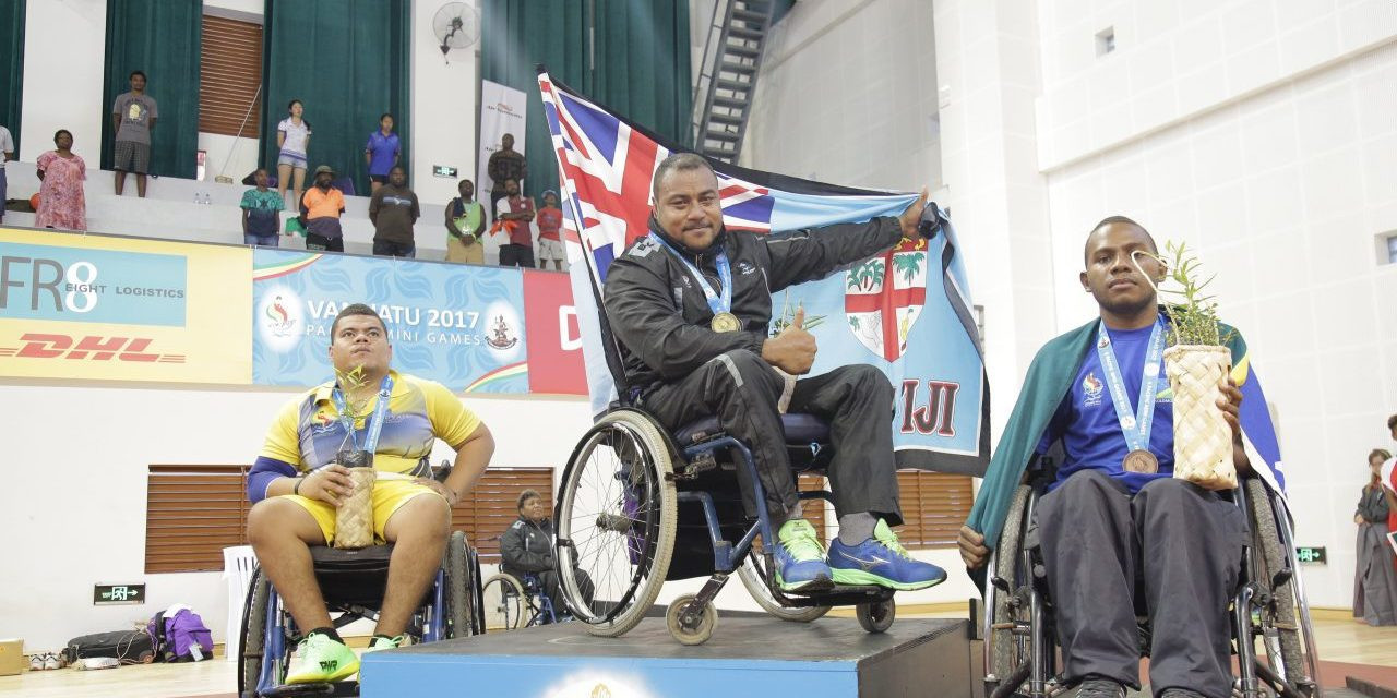 Iakoba Taubokoa won the men's wheelchair single table tennis event ©Vanuatu 2017
