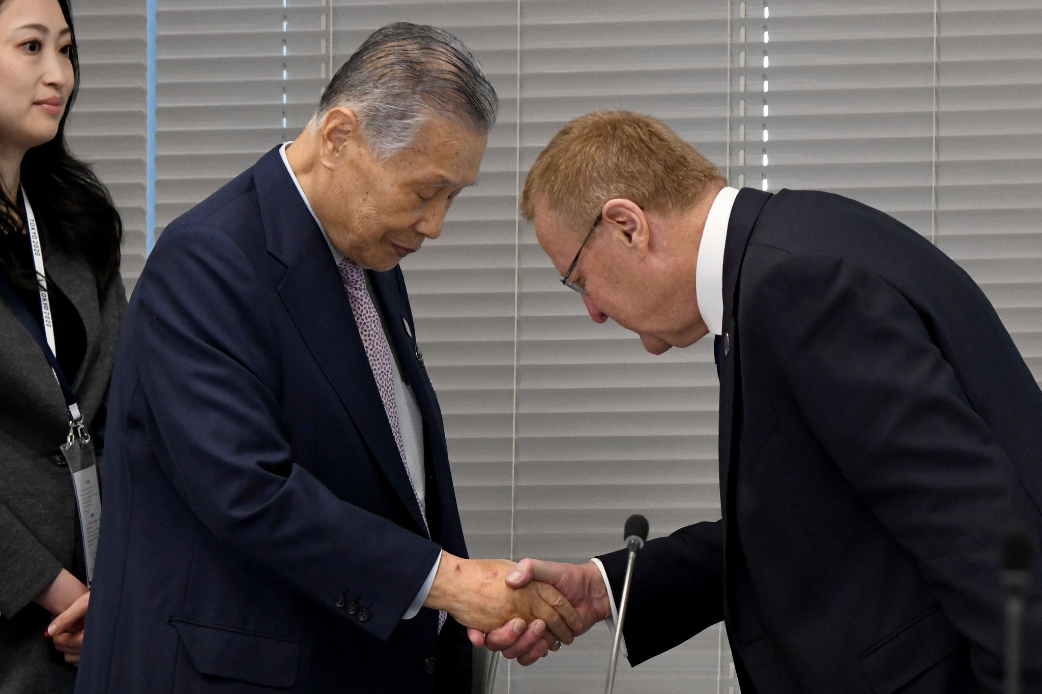 Tokyo 2020 President Yoshirō Mori and John Coates, right, hailed the interest of the Japanese population ©Getty Images