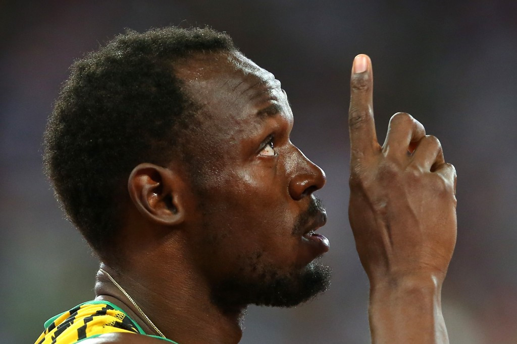 """Usain Bolt prepares to race, and win, the """"hardesr race"""" of his career ©Getty Images"""