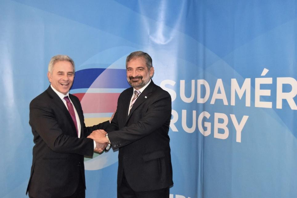 Marcelo Rodríguez, left, succeeded Carlos Barbieri, right, as Chairman of Sudamérica Rugby and now wants to take the sport further in the continent ©World Rugby