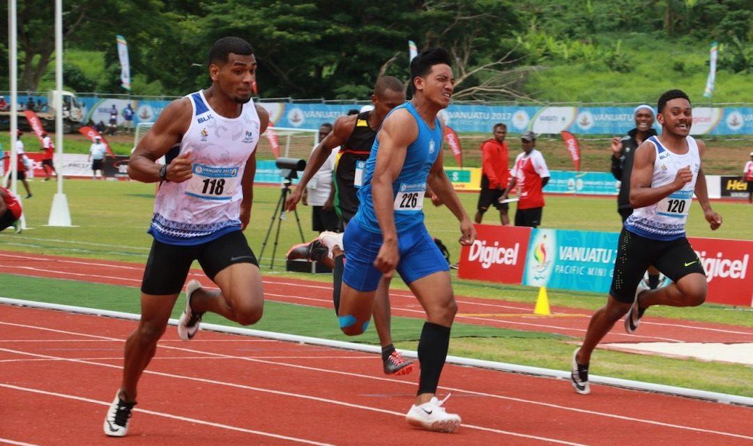 Fiji's Aaron Powell was disqualified after winning the men's 100m ©Vanuatu 2017