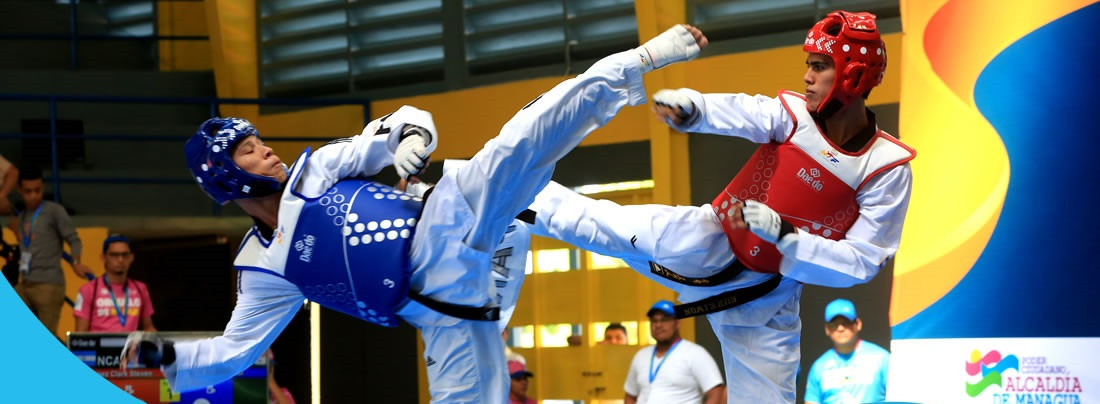 Taekwondo competition began at the Games, with poomsae and combat events contested ©Managua 2017