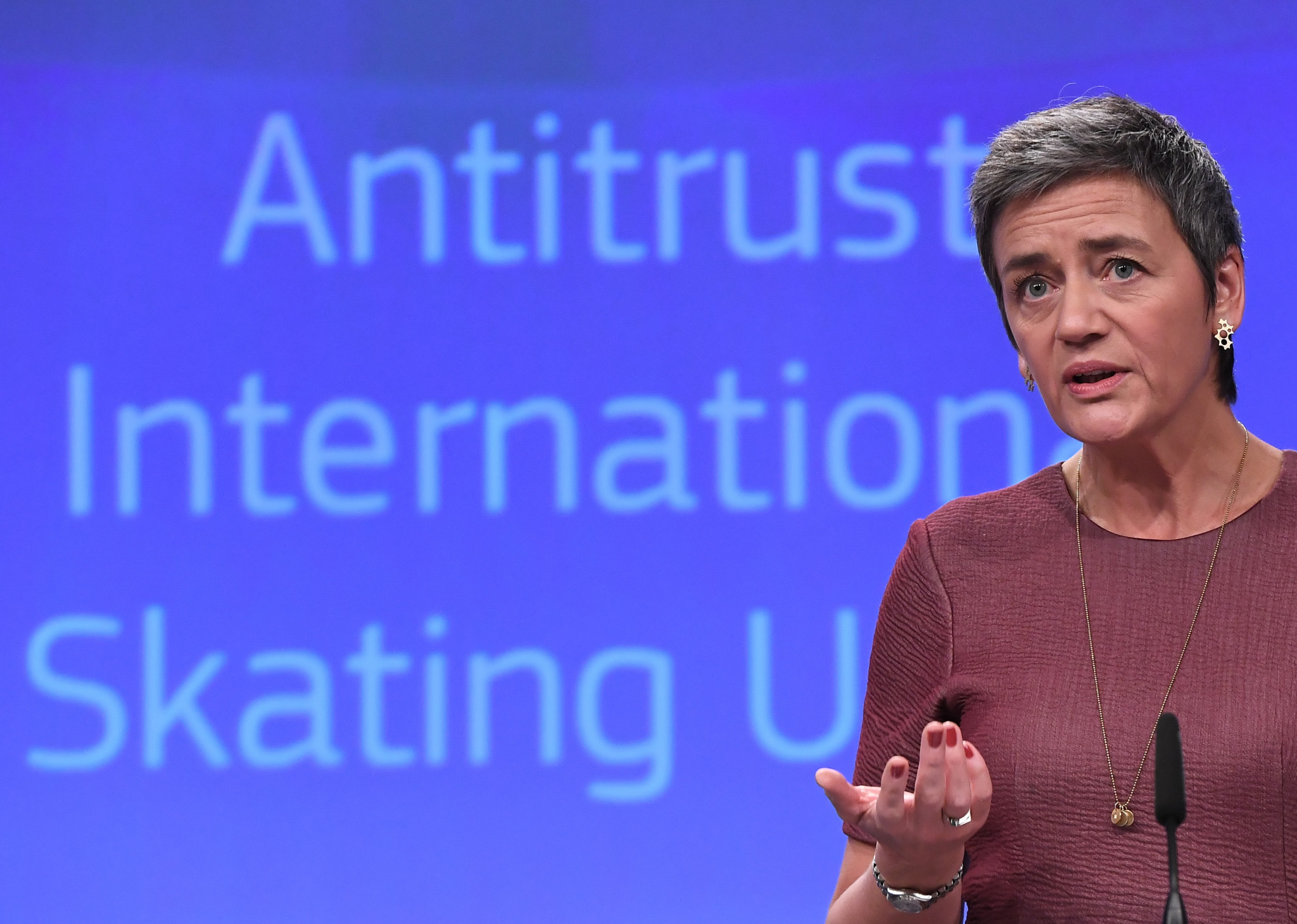 European Commissioner for Competition Margrethe Vestager addresses a press conference about the International Skating Union's (ISU) restrictive penalties on athletes which breach EU competition rules, at the European Commission in Brussels ©Getty Images
