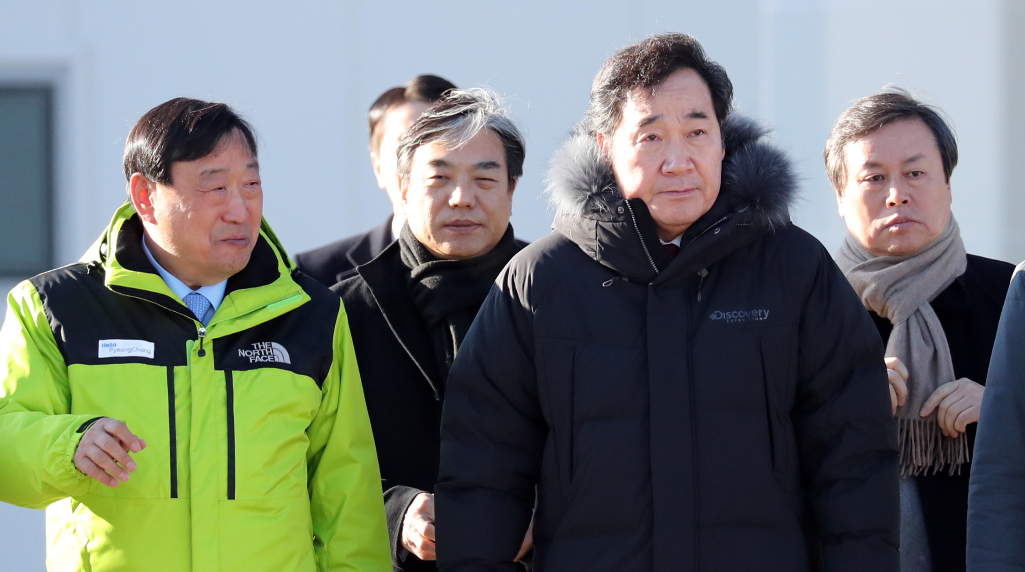 South Korea's Prime Minister Lee Nak-Yeon, centre right, pictured with Pyeongchang 2018 President Lee Hye-beom during his inspection visit ©Pyeongchang 2018