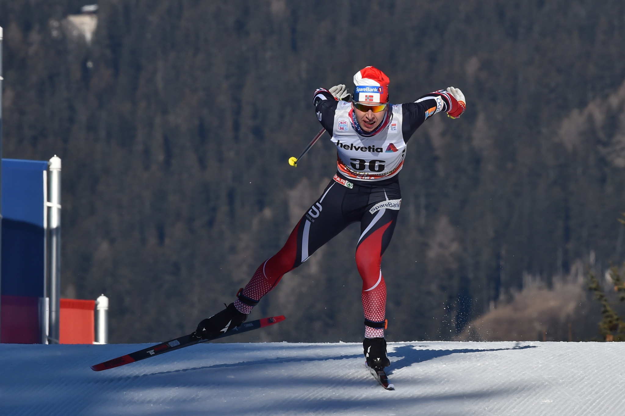 Simen Hegstad Krueger won his first-ever FIS Cross-Country World Cup event in Toblach ©Getty Images