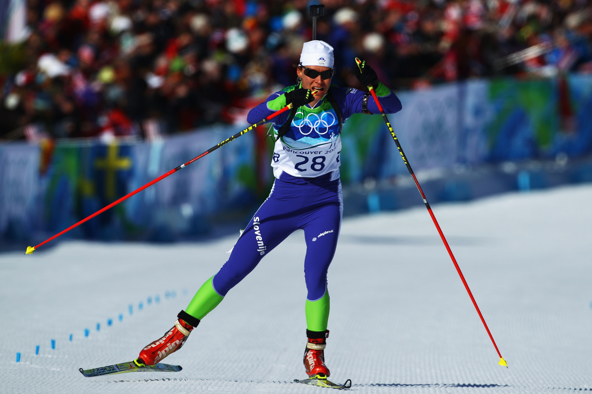 Teja Gregorin pictured competing in the women's 15km individual biathlon event at Vancouver 2010 ©Getty Images